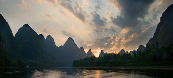 Li River. Landscape at sunset Royalty Free Stock Photo