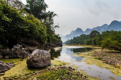 Li river with limestone formations in the background Stock Photo