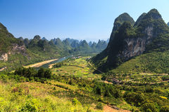 Li river with limestone rocks on the sides Royalty Free Stock Photos