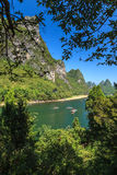 Li river with limestone rocks on the sides Royalty Free Stock Images
