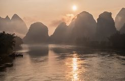 Li river in mist at sunrise. Stock Photo