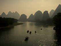 Li River with mountain scenery royalty free stock photography