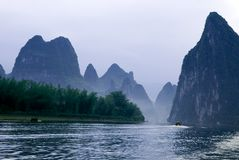 Li river near Yangshuo. Famous karst mountains at Li river near Yangshuo, Guanxi province, China Stock Photo