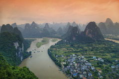 Li River and rocks in Guangxi Province Royalty Free Stock Image