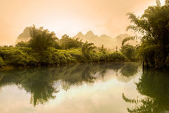 Li River Scenery In Misty Morning Stock Photos