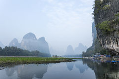 Li River scenery sight with boats Royalty Free Stock Image