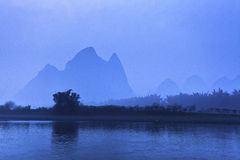 Li River scenery sight with fog Royalty Free Stock Photo