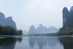 Li River scenery sight with fog Stock Photography