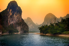 Li River sunset, Gulin, China Stock Photography