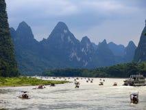 Li river tourists rafts Royalty Free Stock Image
