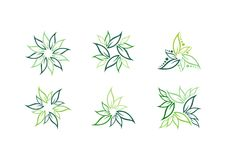 Liść, roślina, logo, ekologia, zieleń, liście, natura symbolu ikona ustawiająca wektorowi projekty Obrazy Royalty Free