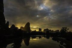 Li Rzeczny wschód słońca blisko Yangshuo Zdjęcia Royalty Free