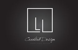 LI Square Frame Letter Logo-Design mit Schwarzweiss-Farben Lizenzfreie Stockbilder