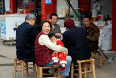 Li An Village, China: Family Playing Cards Stock Images
