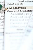 Liabilities. Pen pointing on liabilities section in the balance sheet Royalty Free Stock Photography