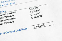 Liabilities. Detail from a balance sheet highlighting current liabilities Stock Photography