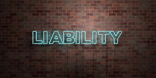 LIABILITY - fluorescent Neon tube Sign on brickwork - Front view - 3D rendered royalty free stock picture Royalty Free Stock Photo