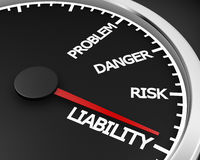 Liability. Problem, Danger, Risk  and Liability words on a speedometer 3d rendering Stock Images