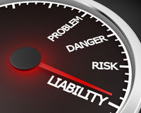 Liability. Problem, Danger, Risk  and Liability words on a speedometer 3d rendering Stock Photo