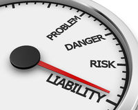 Liability. Problem, Danger, Risk  and Liability words on a speedometer 3d rendering Stock Photos