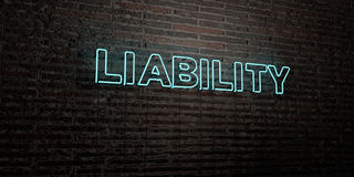 LIABILITY -Realistic Neon Sign on Brick Wall background - 3D rendered royalty free stock image Stock Photography