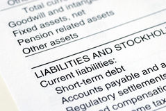 The Liability section in the company balance sheet. Isolated on white background Stock Image