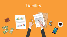 Liability text sign with business man signing a paper document  graph chart and money Royalty Free Stock Images