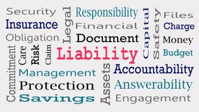 Liability Word Cloud tag cloud isolated.  vector illustration