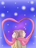 Liaison mignonne de couples dans la scène d'hiver Photo stock
