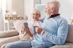 Liaison pluse âgé agréable de couples tout en buvant du café Images libres de droits