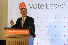 Liam Fox B. England, Bristol - 14 May 2016: The former defence secretary Liam Fox speaks ahead of Johnson at a Vote Leave event horizontal portrait Stock Photos