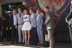 Liam Hemsworth, Jennifer Lawrence, Sam Claflin Stock Images