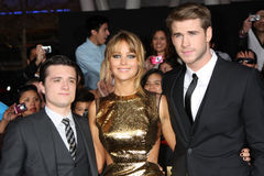Liam Hemsworth,Josh Hutcherson,Jennifer Lawrence Royalty Free Stock Photography