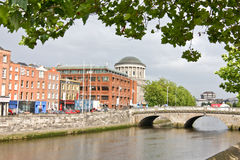 Liam Mellows Bridge, Dublin, Ireland with the Four Courts building in the background stock photo