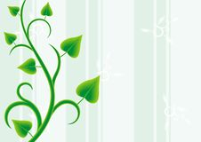 Liana decor. Green liana decor on green streep background stock illustration