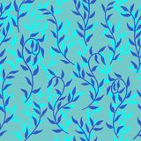 Liana spreads aqua blue leaves creeper seamless pattern background vector. Liana spreads aqua blue leaves creeper seamless pattern on sky background vector royalty free illustration