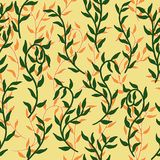 Liana spreads green and orange leaves creeper seamless pattern background vector. Liana spreads green and orange leaves creeper seamless pattern on dark vector illustration