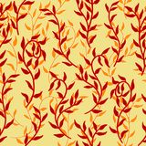 Liana spreads red leaves creeper seamless pattern background vector. Liana spreads red and orange leaves creeper seamless pattern on dark background vector vector illustration