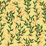 Liane verbreitet Muster-Hintergrundvektor der grünen und orange Blattkriechpflanze nahtlosen vektor abbildung