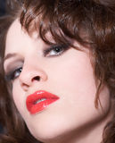 Lianne lips. Portrait of the girl with a bright evening make-up Royalty Free Stock Photos