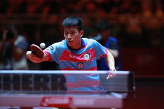 LIAO Cheng-Ting backhand. From Chinese Taipei. Men`s Singles Round of 32 World table tennis championships in Dusseldorf. 29 May 6 june 2017 Royalty Free Stock Images