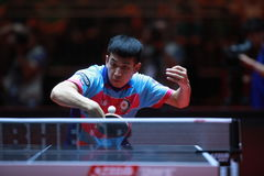 LIAO Cheng-Ting backhand. From Chinese Taipei. Men`s Singles Round of 32 World table tennis championships in Dusseldorf. 29 May 6 june 2017 Stock Photo