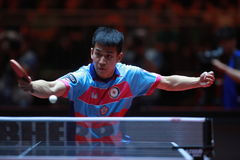 LIAO Cheng-Ting backhand. From Chinese Taipei. Men`s Singles Round of 32 World table tennis championships in Dusseldorf. 29 May 6 june 2017 Stock Photos