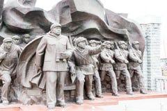LIAONING, CHINA - Jul 28 2015: Chinese People's Volunteer Army S. Tatues at Yalu River Short Bridge. a famous historic site in Dandong, Liaoning, China Stock Photos