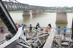 LIAONING, CHINA - Jul 28 2015: Yalu River Short Bridge. a famous Stock Photography