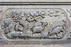 LIAONING, CINA - 1° agosto 2015: Sollievo al palazzo di Zhang del maresciallo Fotografie Stock Libere da Diritti