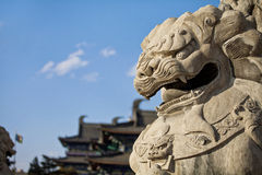 Liaoyang Guangyou Temple stone lions Stock Image