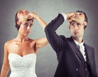 Liar marriage. False marriage between two people not sincere Stock Photos