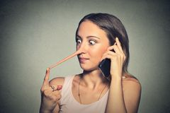 Liar woman with long nose talking on mobile phone Stock Images