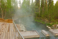 Liard hot springs in northern canada royalty free stock photo